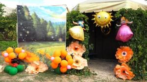 фольгированные шарики кукла Барби, солнце, цветы, напольные украшения